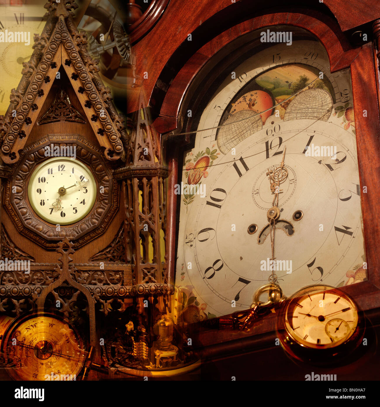 Abstract collage with time theme - Stock Image