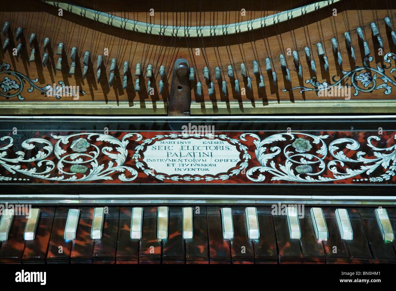 Baroque Clavichord keyboard - Stock Image