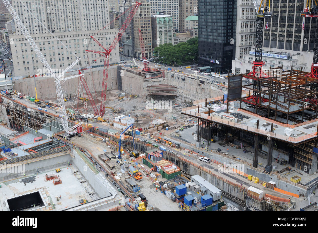 The World Trade Center construction site. Tower 4 is rising in the foreground. June 9, 2010 Stock Photo