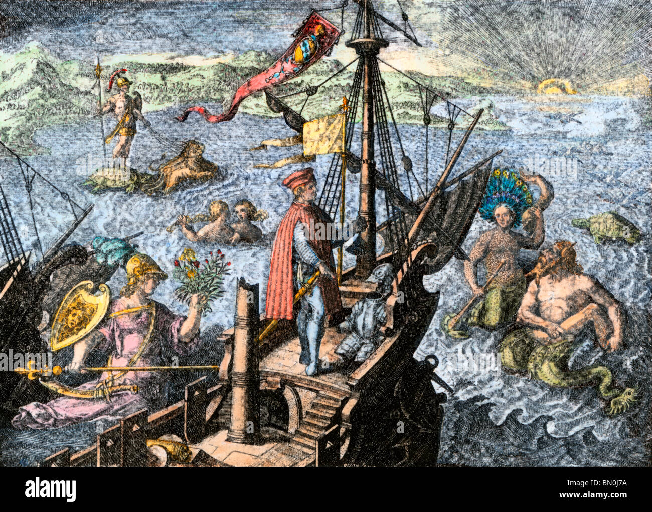 Navigating the Sea of Darkness. Hand-colored woodcut - Stock Image