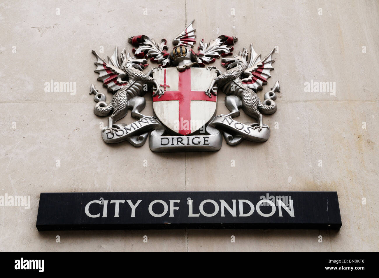 Domine  Dirige Nos city of London Coat of Arms, London, England, UK - Stock Image