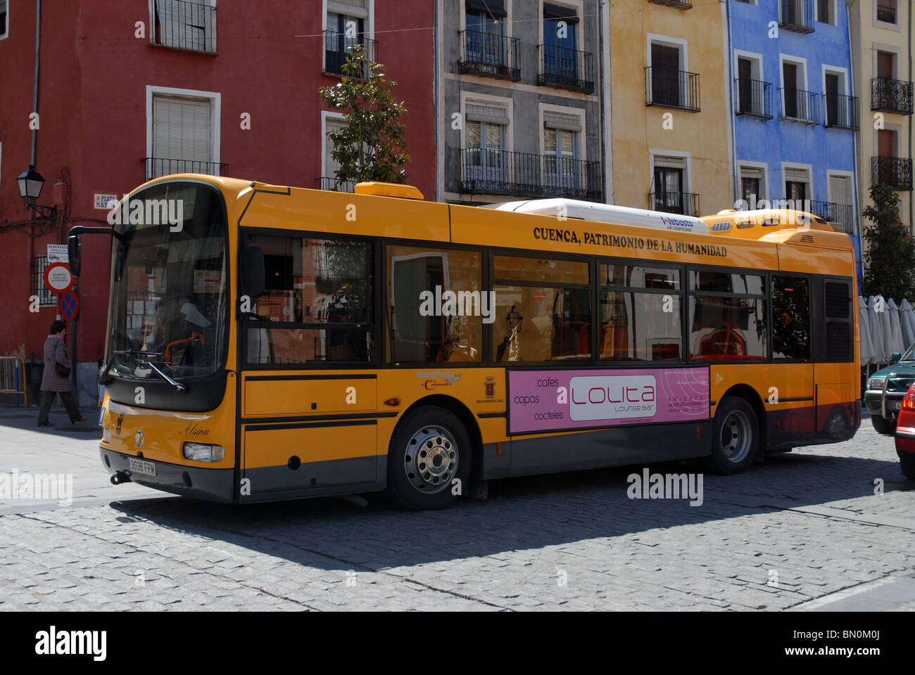 bus in the Plaza Mayor, Cuenca, Cuenca Province, Castile-La Mancha, Spain Stock Photo