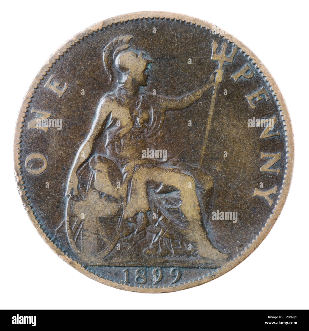 1899 British Victorian Penny coin - Stock Image