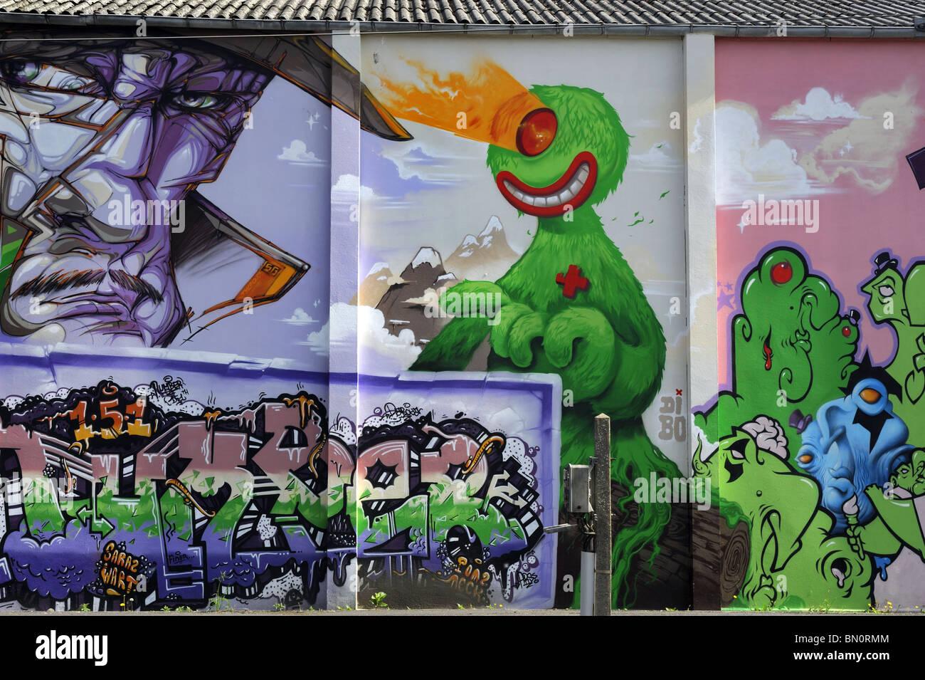 Graffitti artwork at Landerneau station, Brittany, France - Stock Image