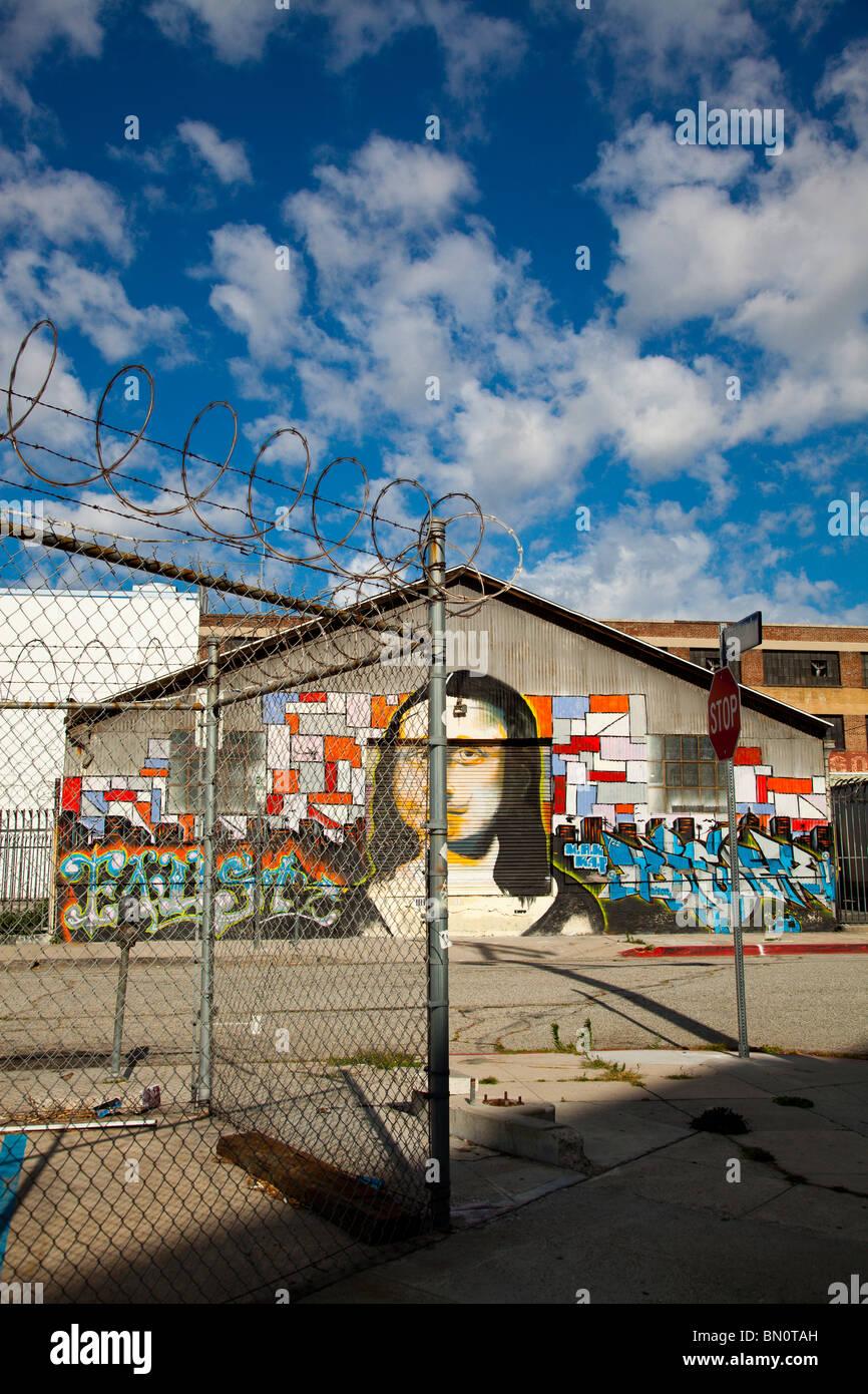 Mona Lisa Mural, Arts District, Los Angeles, California, United States of America - Stock Image