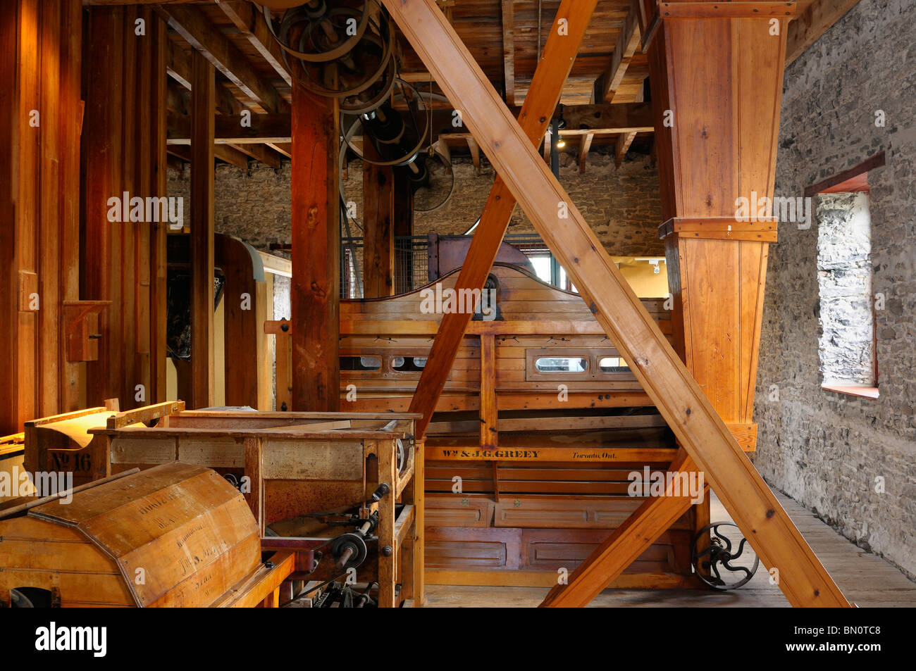 Interior of the Lang Grist Mill at Pioneer Village on the Indian River Ontario - Stock Image