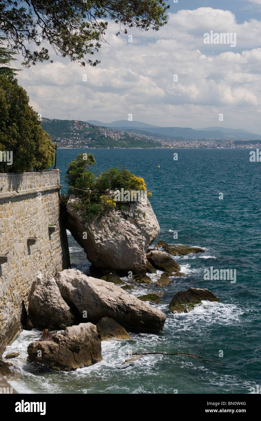 View of the Adriatic coast from the Miramare Castle, Trieste, Italy - Stock Image
