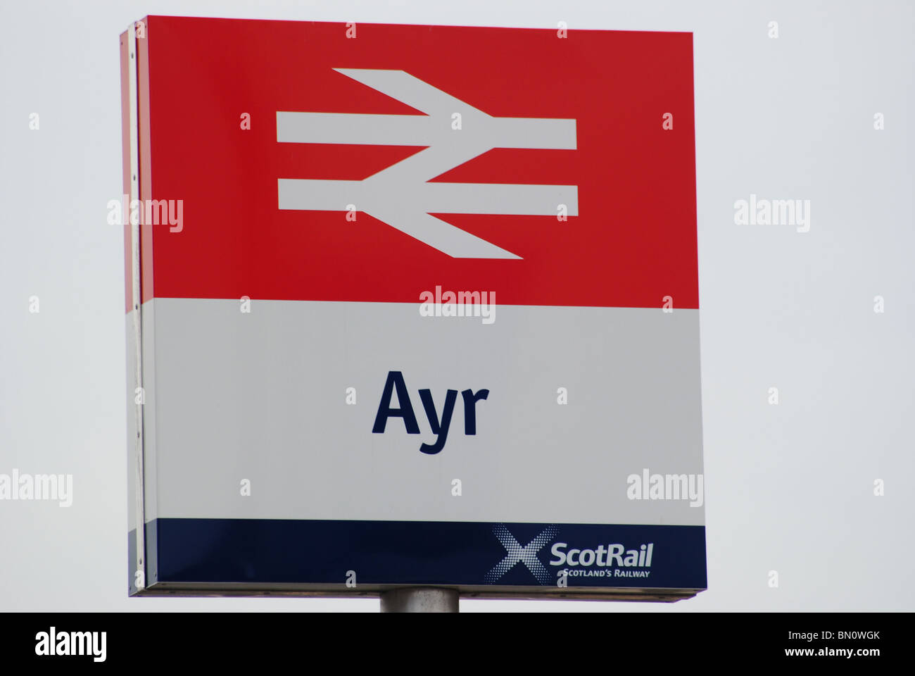 Scotrail Sign at Ayr Railway Station South Ayrshire - Stock Image