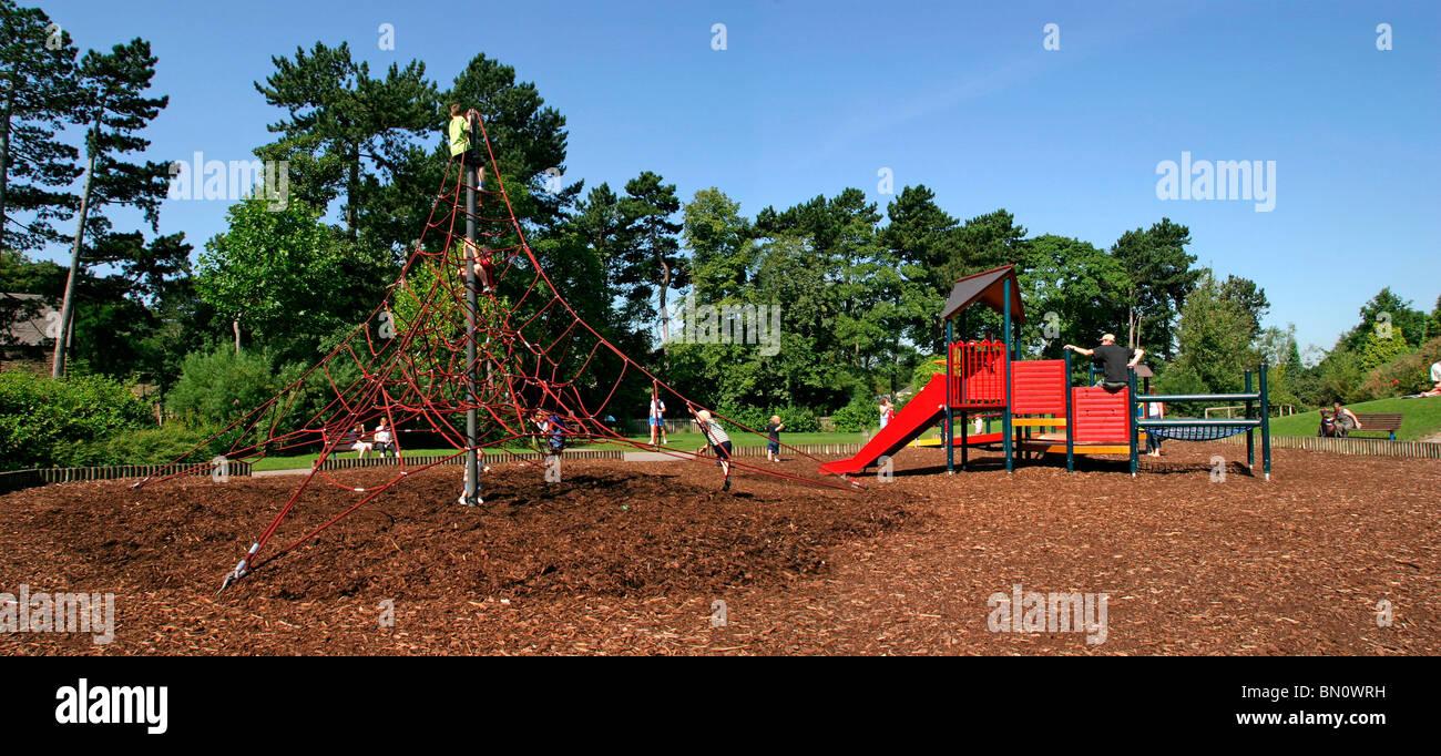 UK, England, Cheshire, Stockport, Cheadle, Bruntwood Park, award-winning children's play area, panoramic - Stock Image