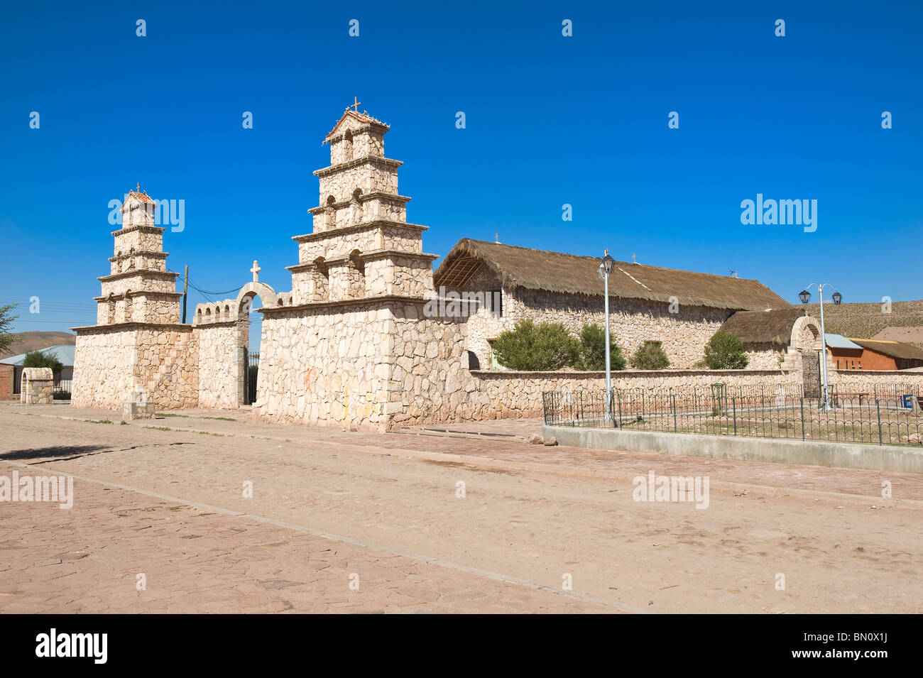 17th century church, San Cristobal, Altiplano, Potosi, Bolivia - Stock Image