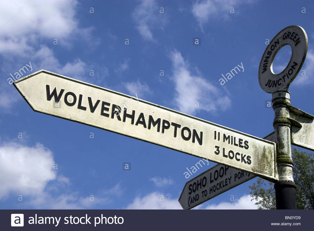 A signpost on the Birmingham to Wolverhampton Canal, West Midlands, UK. - Stock Image