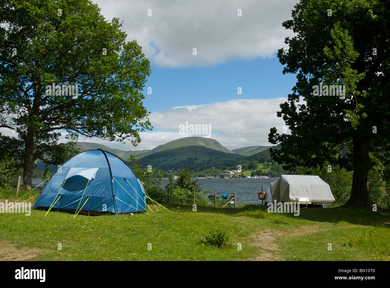 Lake Windermere and Low Wray Campsite, Lake District National Park, Cumbria, England UK - Stock Image