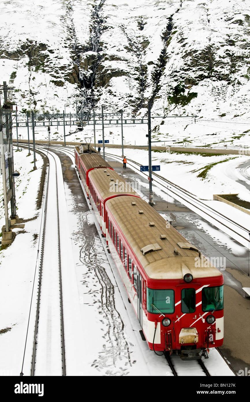 Glacier express train, Oberalp pass, Canton Uri, Switzerland - Stock Image