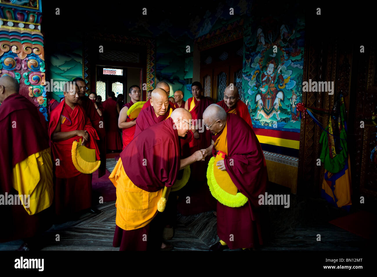 Buddhist Monks Greeting Each Other - Stock Image