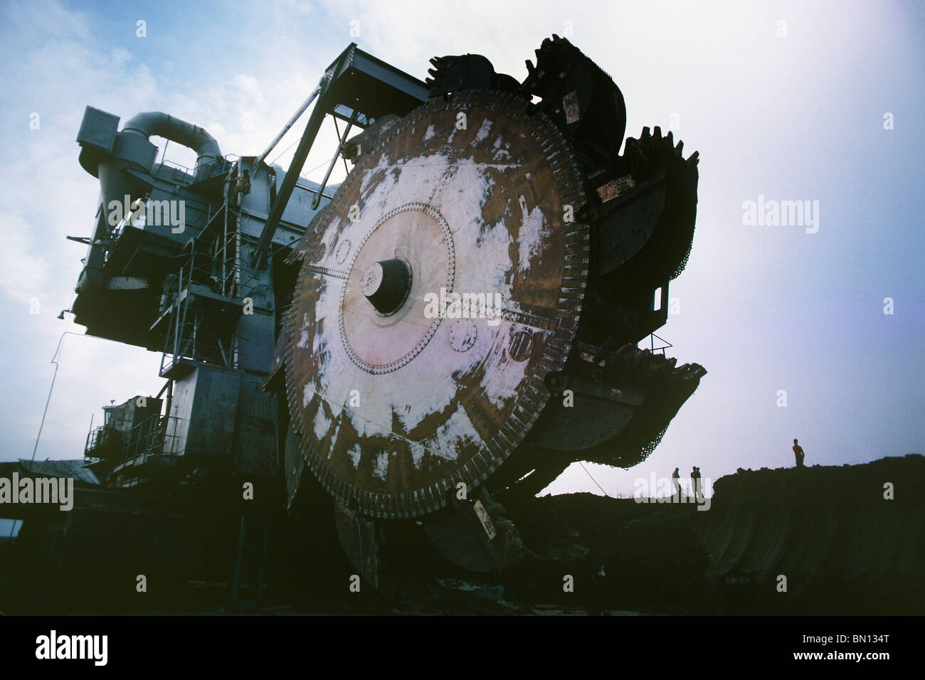 Colossal excavator used in 1979 for digging and building the Jonglei canal in the southern Sudan, a project halted - Stock Image