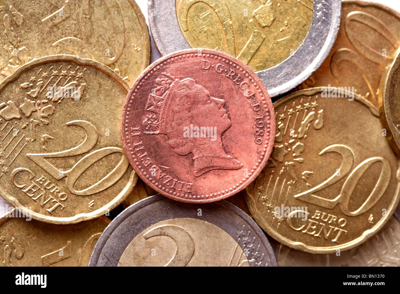 Euro coins for backgrounds - Stock Image