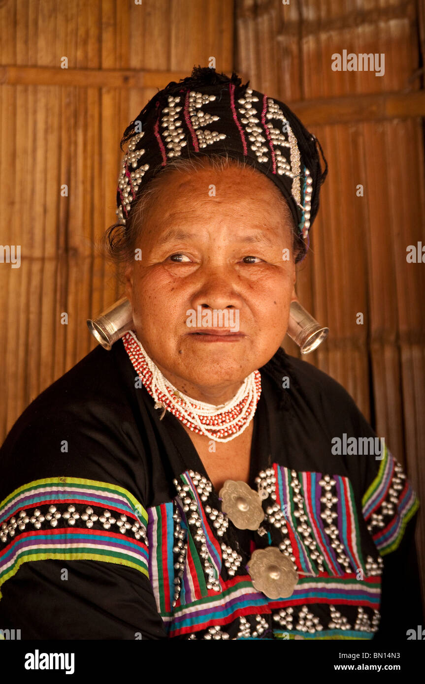 Woman in traditional dress at Baan Tong Luang village of Hmong people in rural Chiang Mai, Thailand. - Stock Image