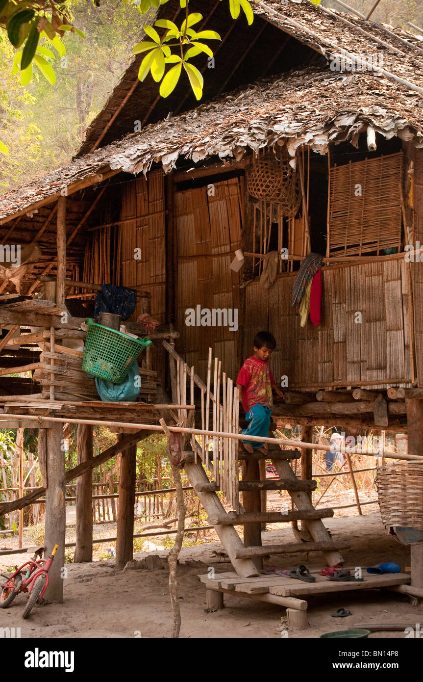 House in Baan Tong Luang, a village of Hmong people in rural Chiang Mai Province, Thailand. - Stock Image