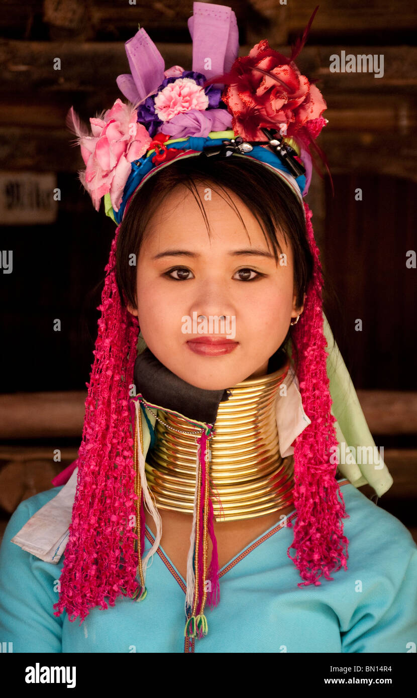 Young woman of the Karen hill tribes at Baan Tong Luang, a village of Hmong people in Chiang Mai Province, Thailand. - Stock Image