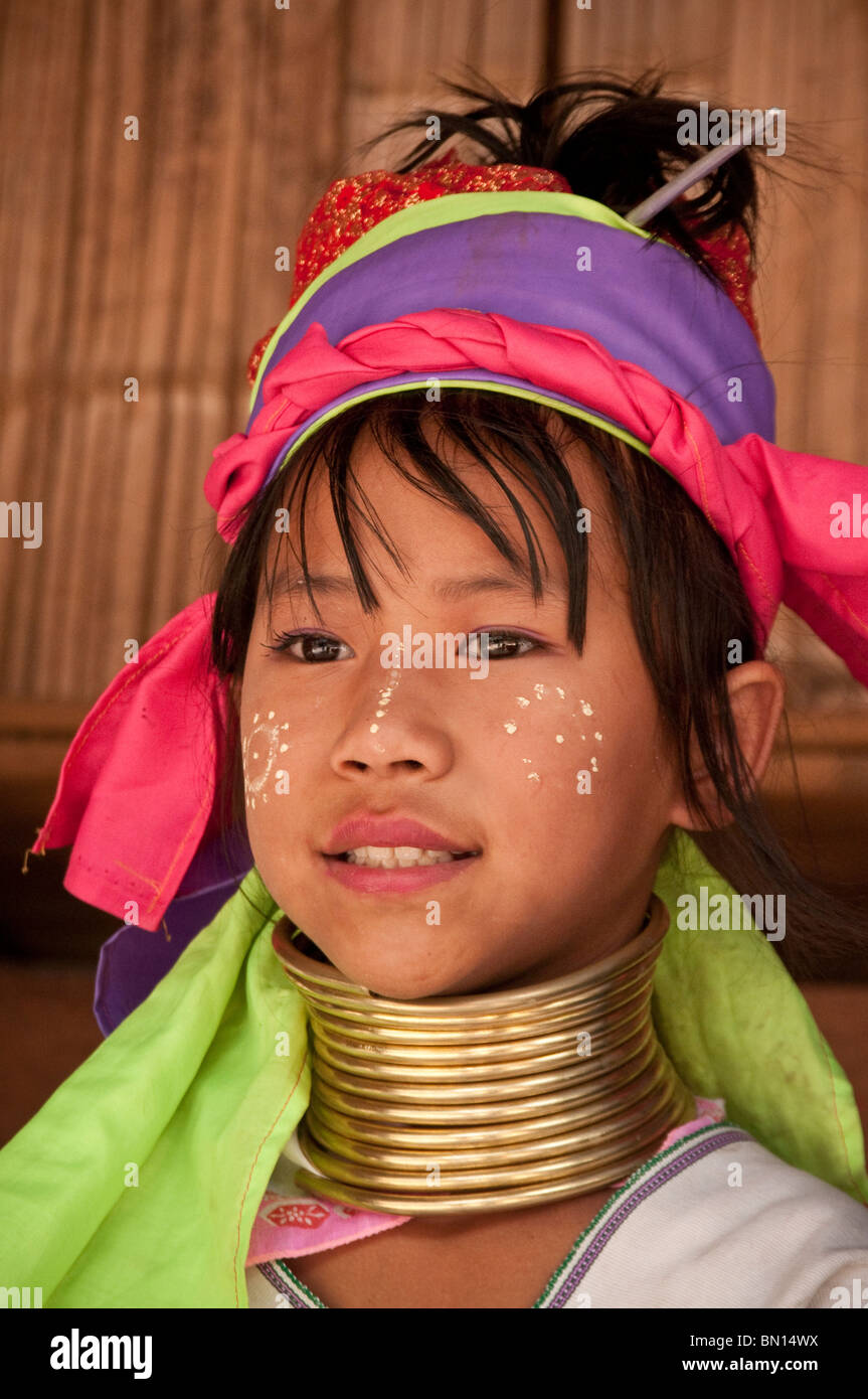 Karen hill tribe girl wearing traditional neck coil at Baan Tong Luang village of Hmong people in Chiang Mai Province Thailand Stock Photo