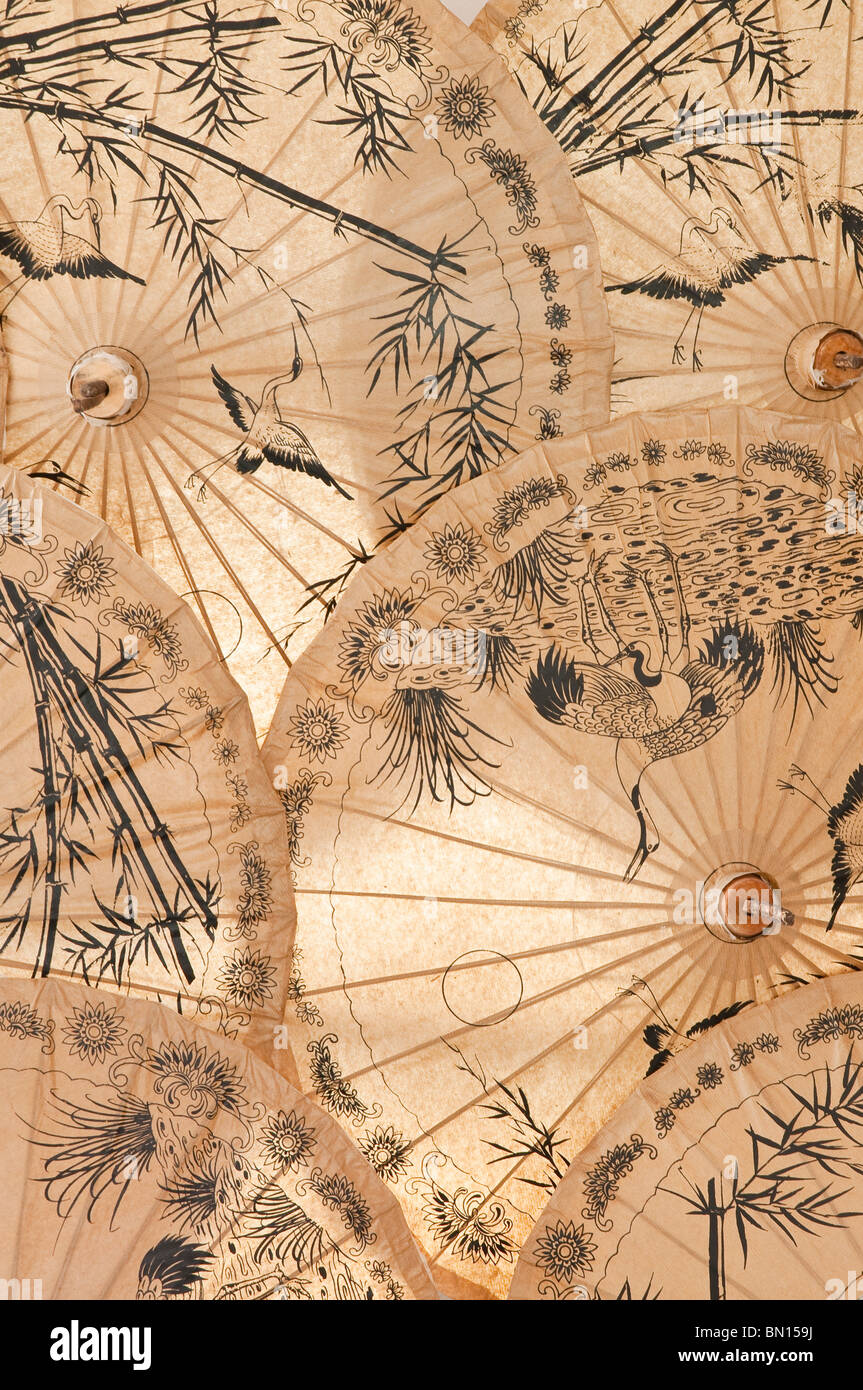 Hand-painted mulberry paper umbrellas at The Umbrella Factory in Chiang Mai, Thailand. - Stock Image