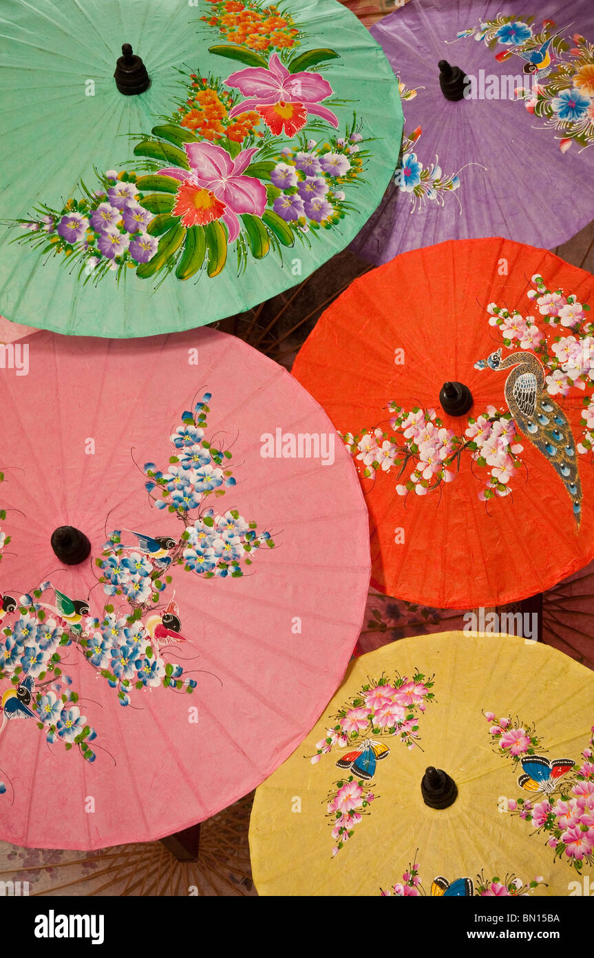Hand-painted paper umbrellas at The Umbrella Factory in Chiang Mai, Thailand. - Stock Image