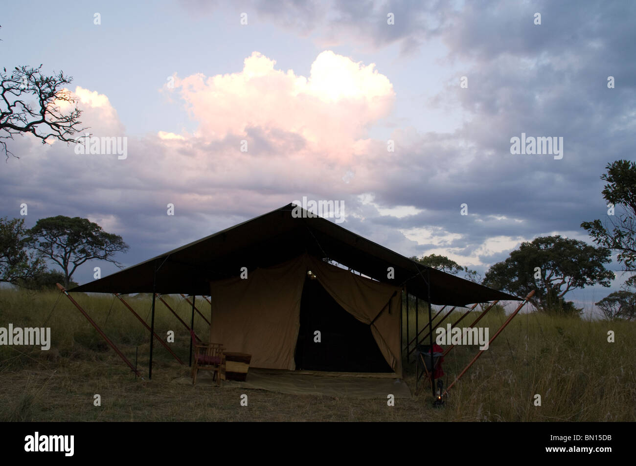 Safari tent serengetti - Stock Image