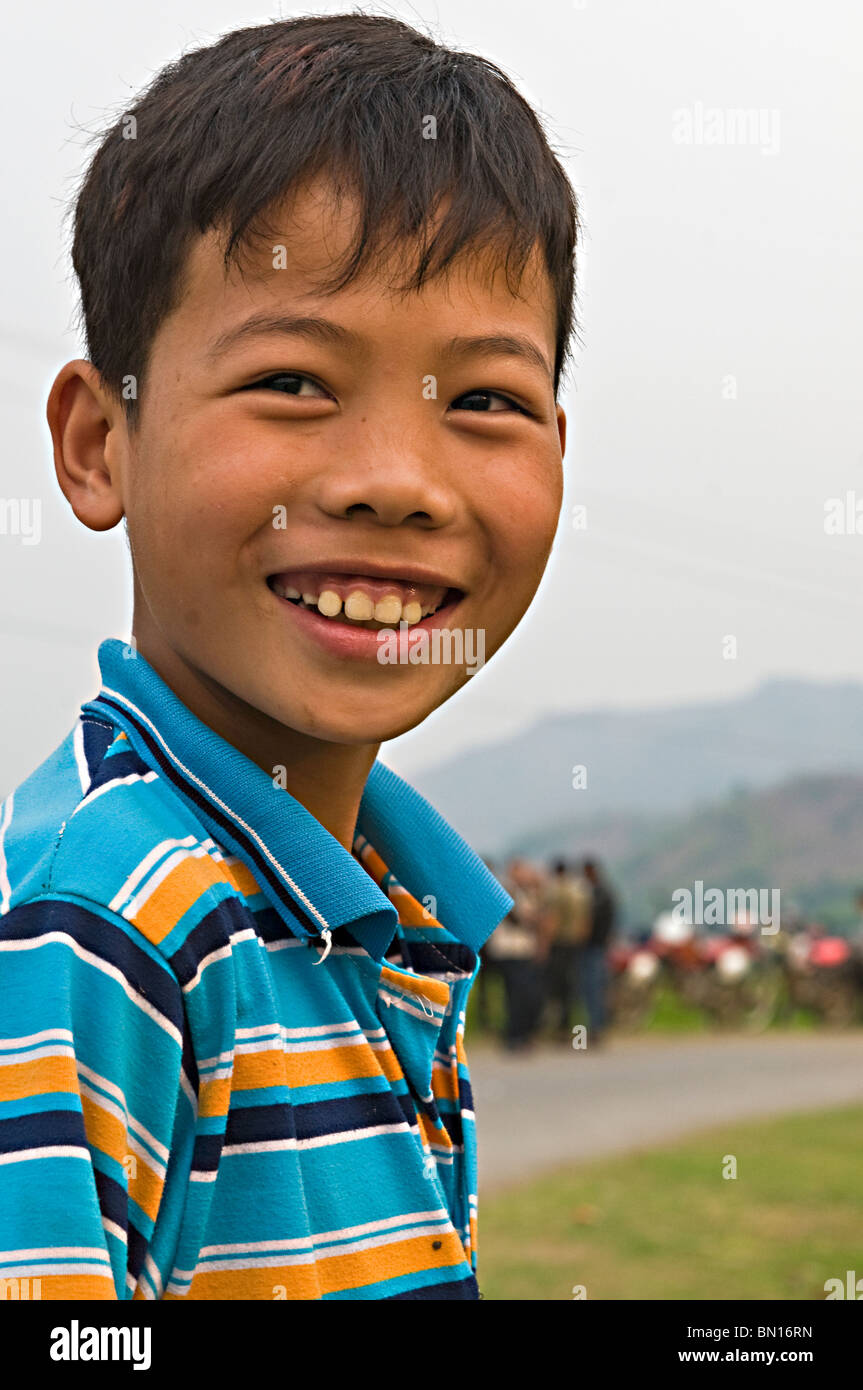 Face of a young boy in Mai Chai, north Vietnam - Stock Image
