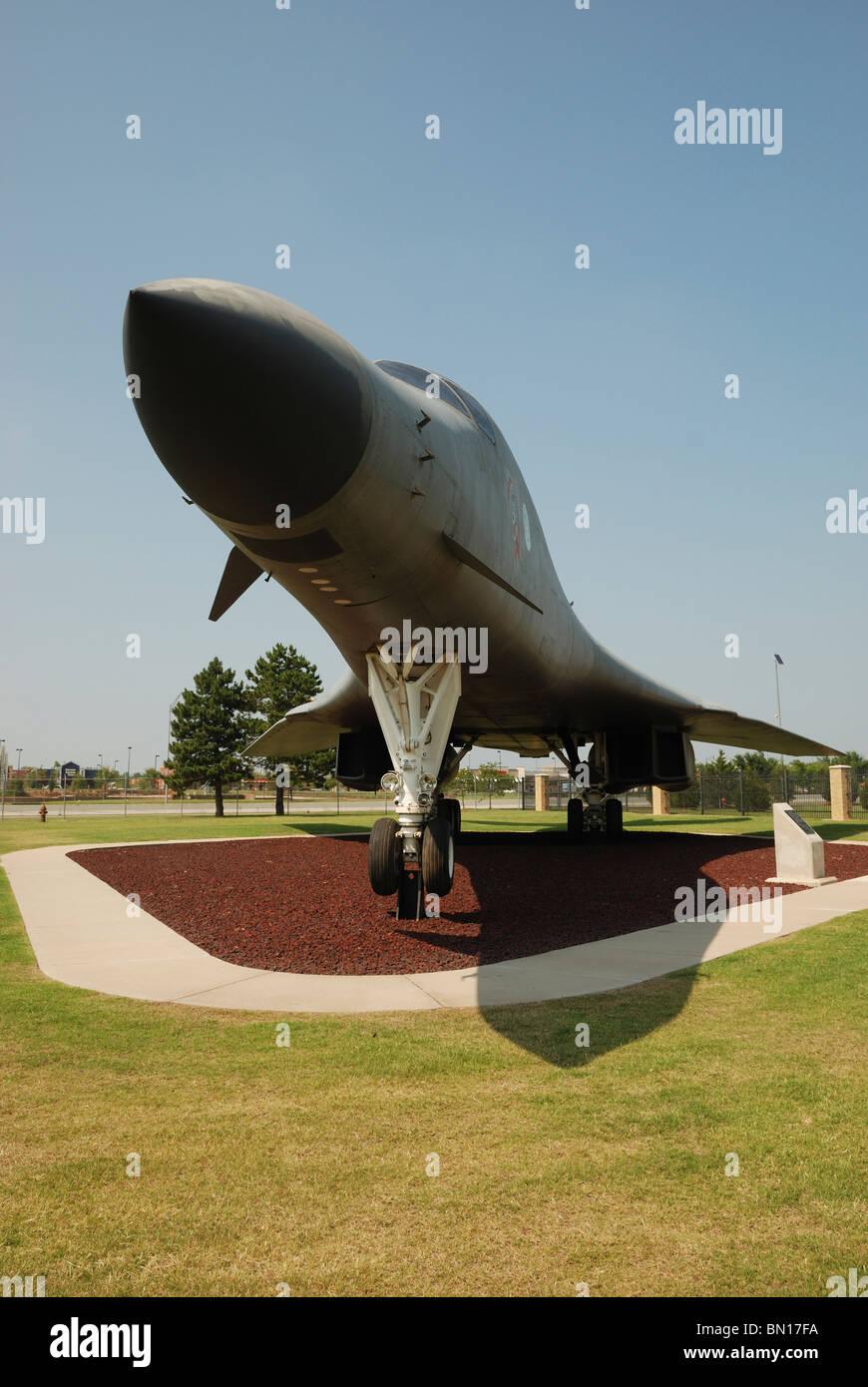 A B1-B 'Lancer' bomber aircraft on display at the Tinker Air Force Base, Oklahoma City, Oklahoma, USA. Stock Photo