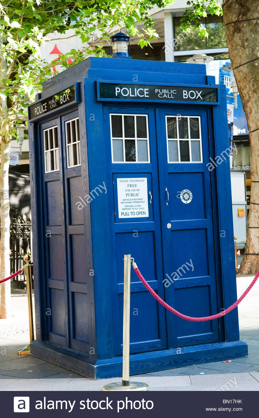 Dr Who Tardis on display in Cardiff City Centre, Wales, UK. - Stock Image