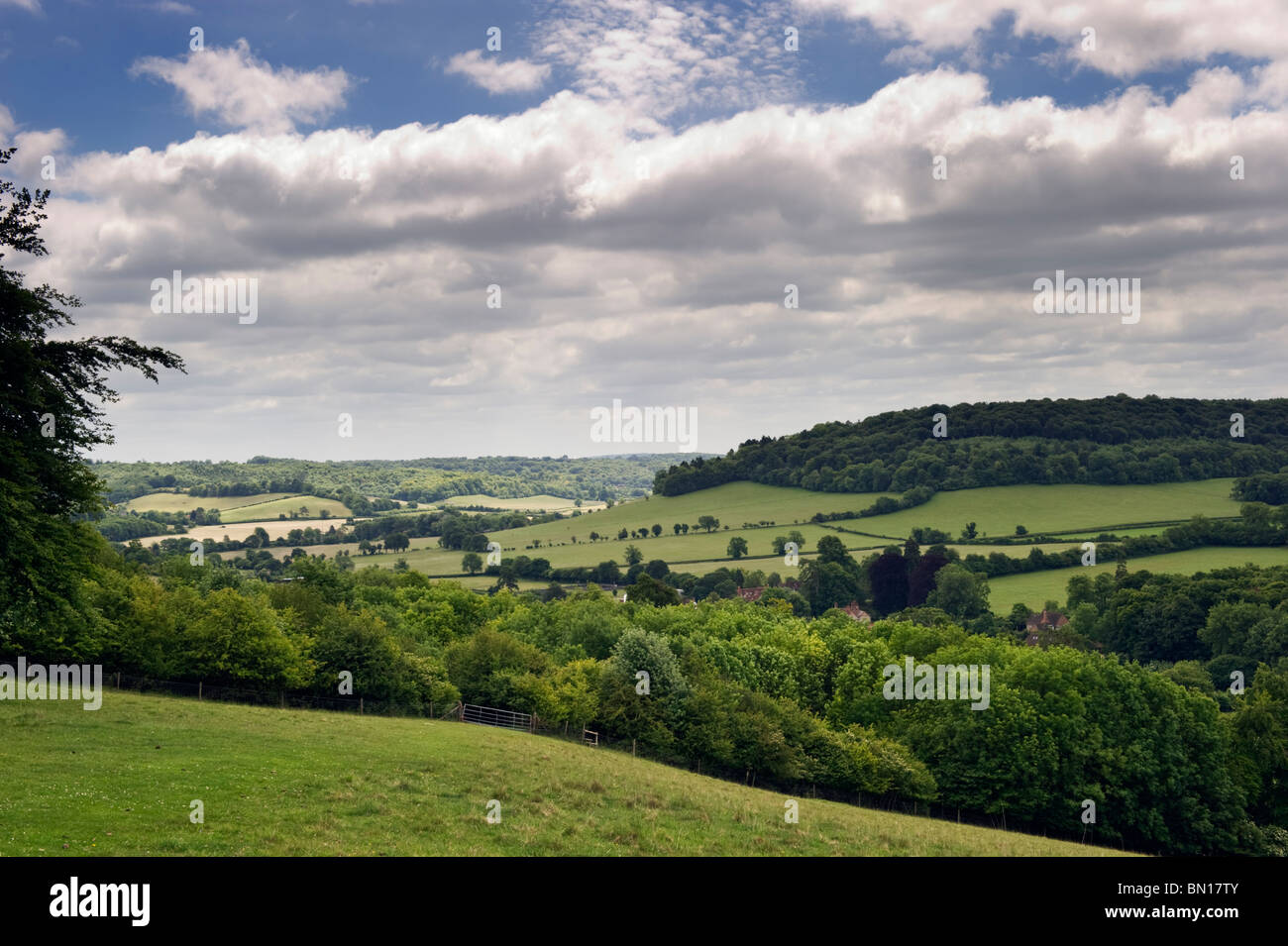 An English landscape countryside view of Hambleden valley in Chilterns countryside, Buckinghamshire UK Stock Photo