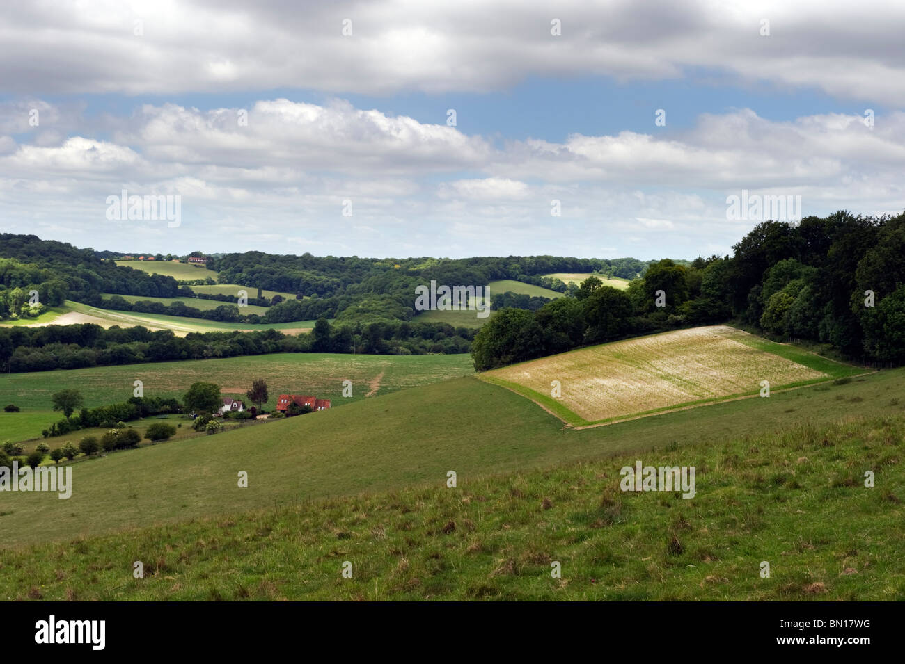 An English landscape countryside view of Hambleden valley in Chilterns countryside, Buckinghamshire UK - Stock Image