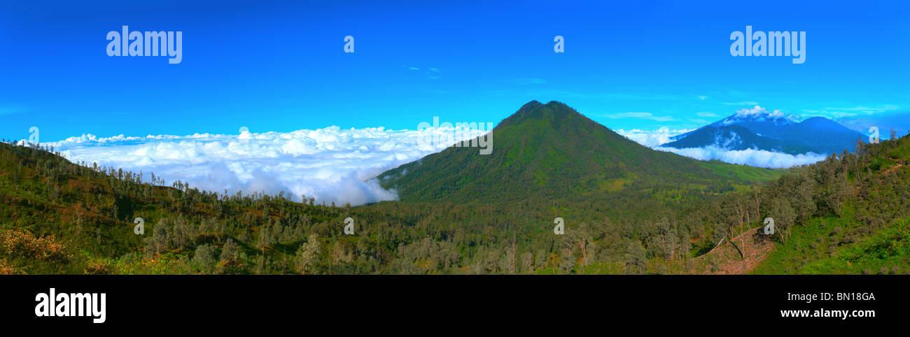 Volcano Ranti . View from the volcano Ijen. Java. Indonesia. Panorama. - Stock Image