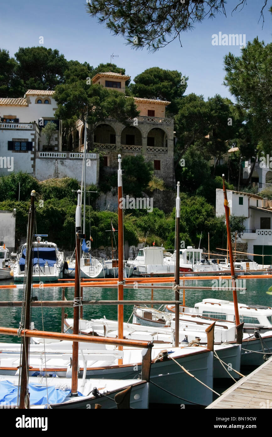Traditional fishing boats moored in Cala Figuera harbour, Mallorca Stock Photo