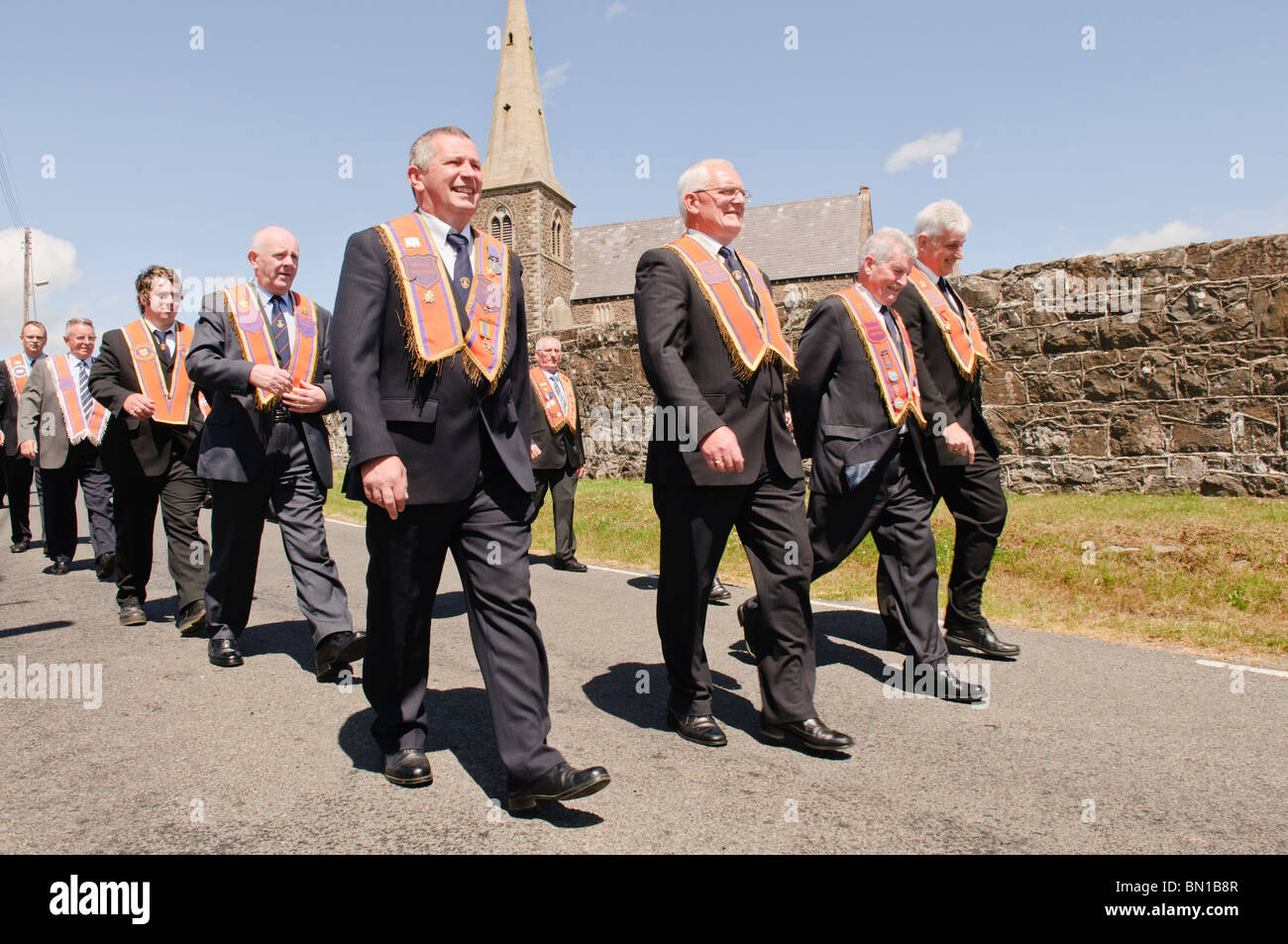 27th June 2010, Drumcree, Portadown.  LOL No 1 in an attempt to continue back to Portadown via the Garvaghy Road. Stock Photo