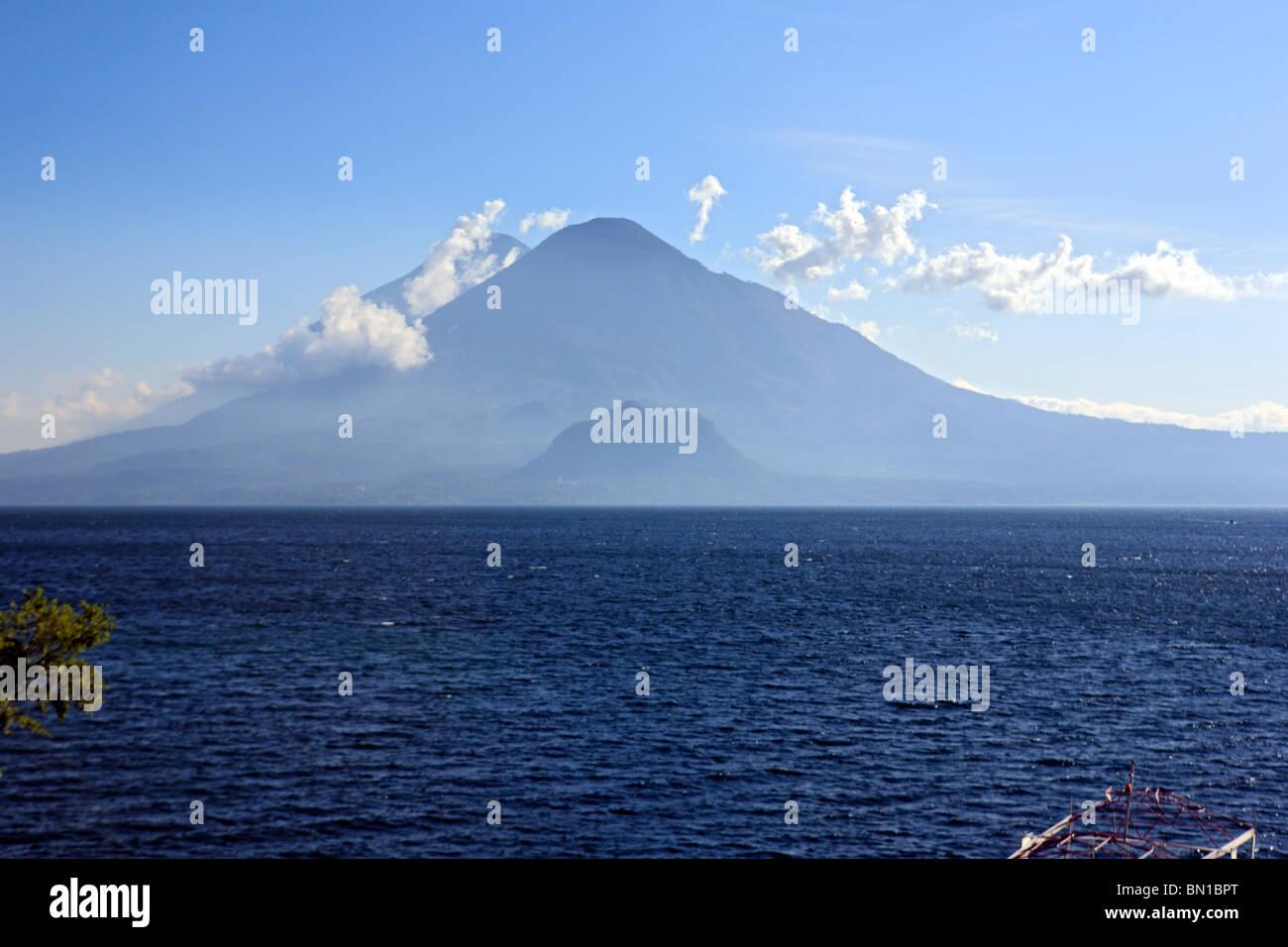 Atitlan lake and volcans Toliman and Atitlan, Guatemala - Stock Image