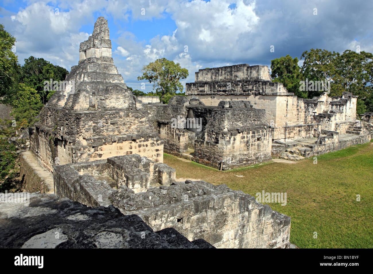 Central Acropolis, Maya ruins of Tikal, near Flores, Guatemala - Stock Image