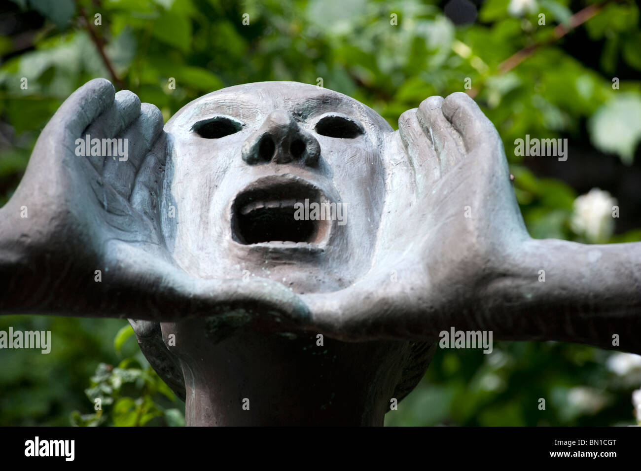 Sculpture in garden at Kathe Kollwitz Museum in Charlottenburg in Berlin Germany - Stock Image