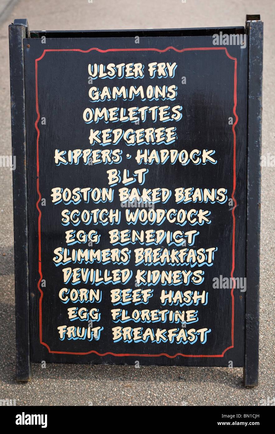 Cafe Menu Board Deal Kent UK - Stock Image