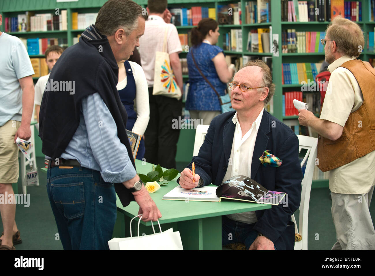 Album cover designer Richard Evans book signing where authors meet their fans at Hay Festival 2010 Hay on Wye Powys - Stock Image