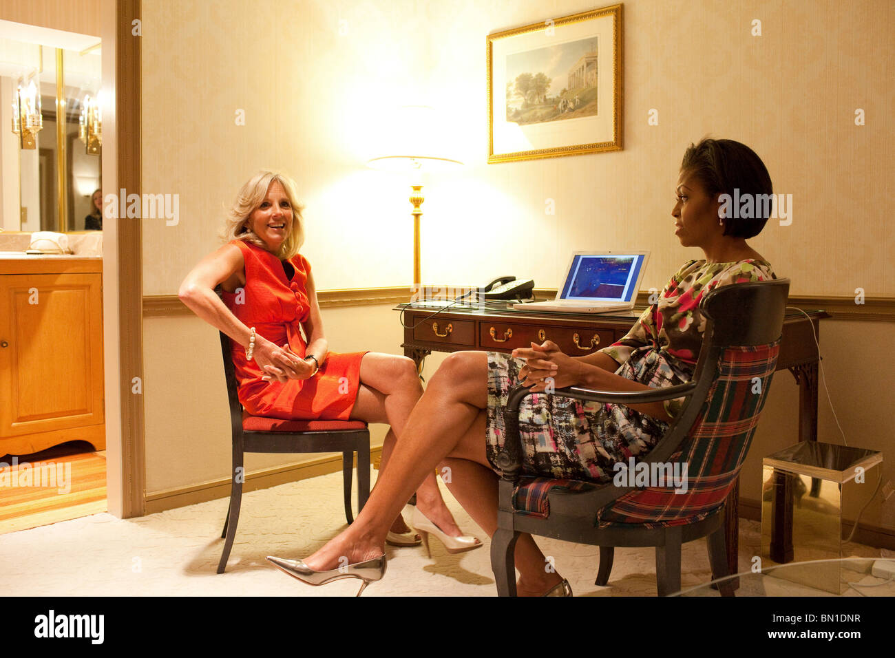 First Lady Michelle Obama and Dr. Jill Biden wait for the start of the Women's Leadership Forum Issues Conference. - Stock Image