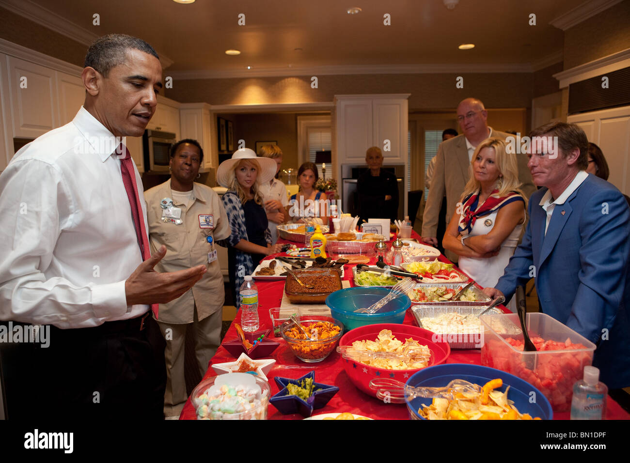 President Barack Obama attends a reception at Fisher House with family members of wounded warriors in Hines, Il., - Stock Image