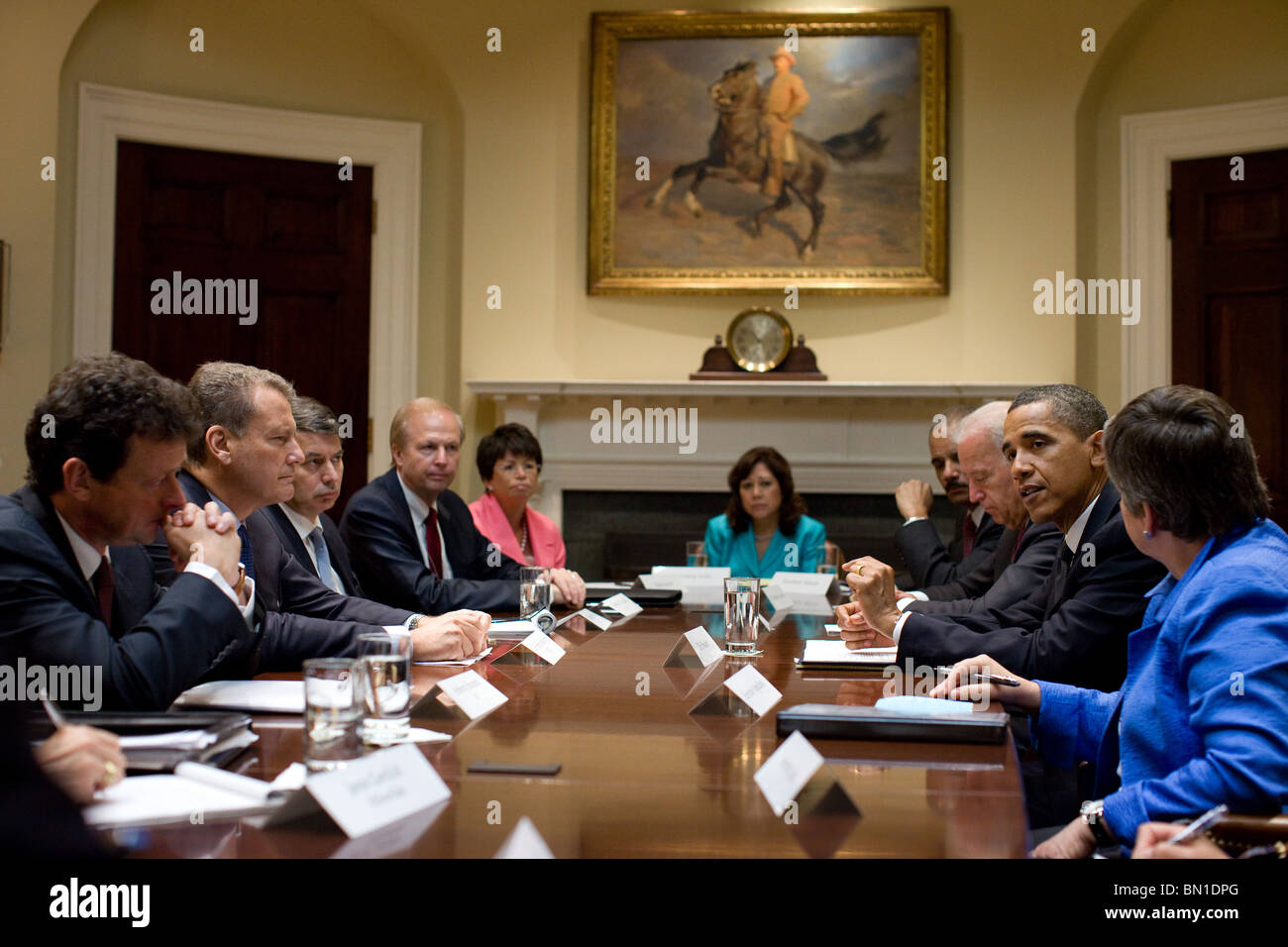 President Barack Obama and Vice President Joe Biden meet with BP executives in the Roosevelt Room of the White House - Stock Image
