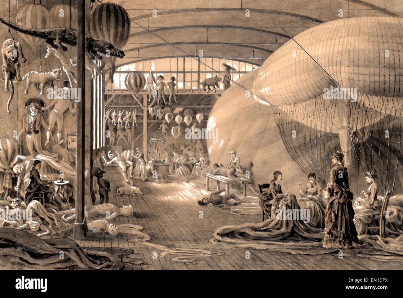 Balloon factory Paris, France circa 1883 - Stock Image