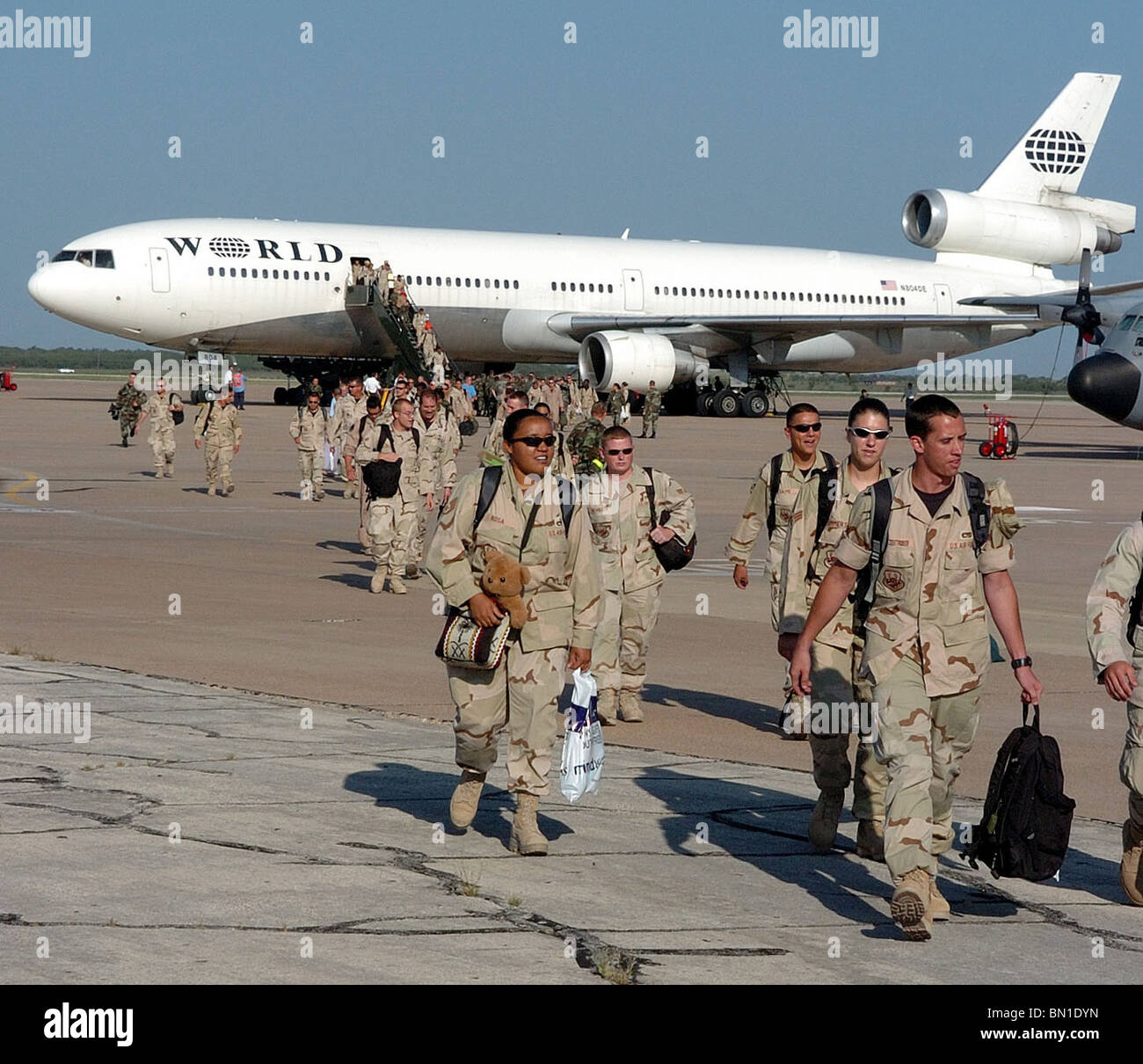 Airmen return home to Dyess Air Force Base, Texa, after deploying in support of Operations Enduring and Iraqi Freedom - Stock Image