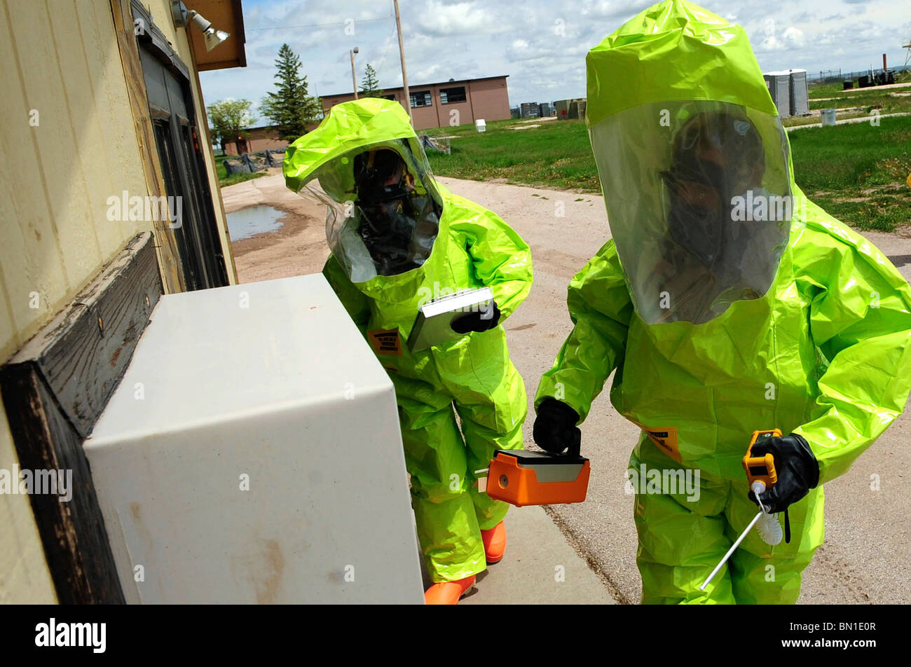 Emergency management exercise preparing for chemical, biological, radiological detection and decontamination. - Stock Image