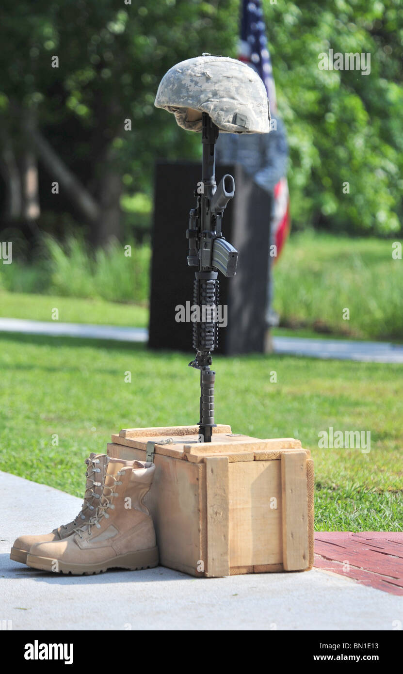 A battlefield  constructed at the Fallen Airmen Memorial dedication ceremony at Memorial Lake, SC. - Stock Image