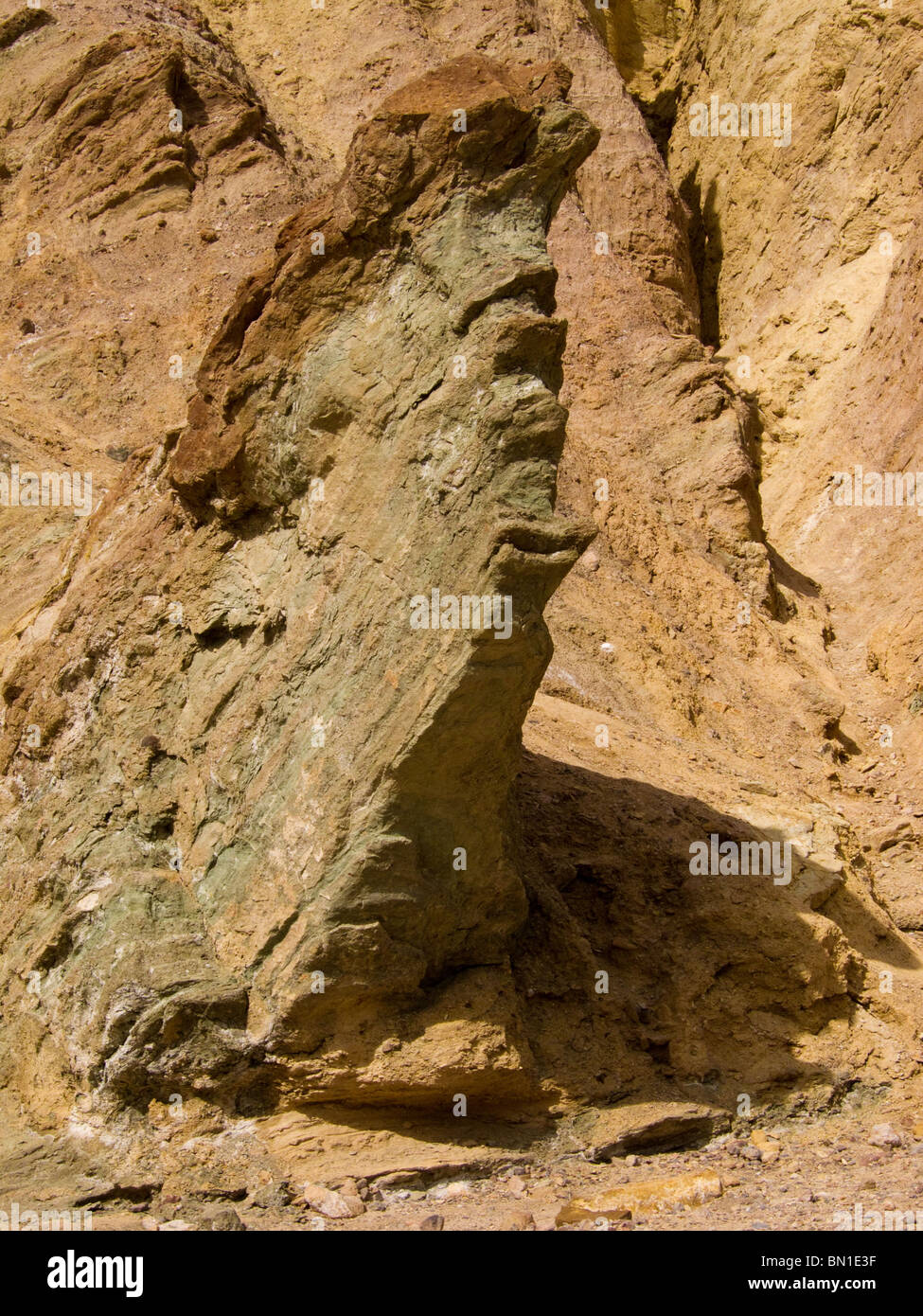 Unusual rock formation in Golden Canyon, Death Valley National Park, California, USA. - Stock Image