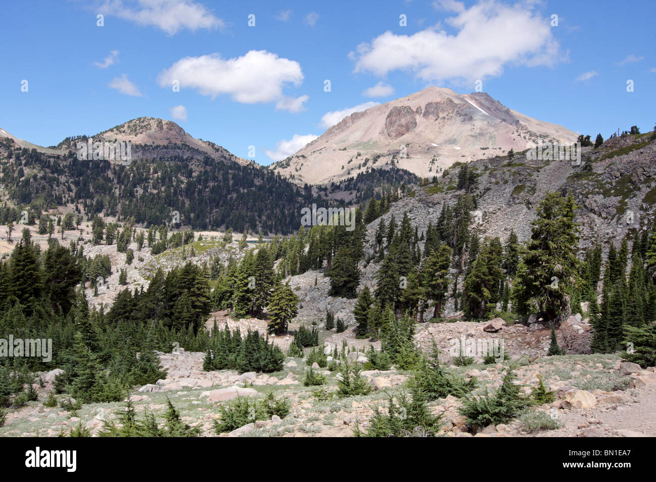 Rising 10,462 feet above sea level Mount Lassen is the southern most volcano in the Cascade Volcanic Arc. - Stock Image