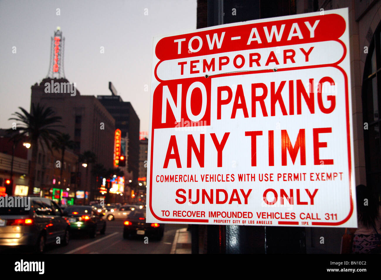 No Parking Sign Tow Away - Stock Image